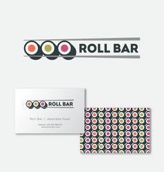 sushi roll bar flat logo japanese food emblem vector image