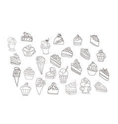 sweet dessert background doodle set vector image
