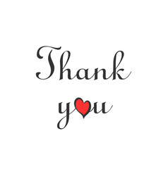 thank you handwritten letter with heart isolated o vector image