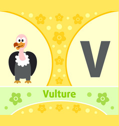 The english alphabet with vulture vector