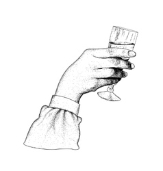 the hand holding glasses champagne vector image