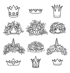 tiaras various shapes with flowers outlined vector image