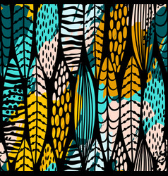 tribal seamless pattern with abstract leaves hand vector image