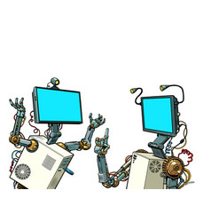 Two robots communicate vector