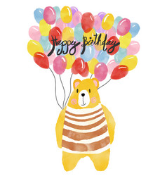 Watercolour happy birthday card bear holding vector