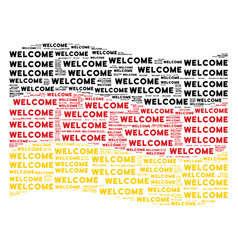 Waving german flag collage of welcome texts vector
