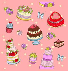 Wedding cake set wed vector