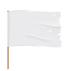 White torn flag close up template vector