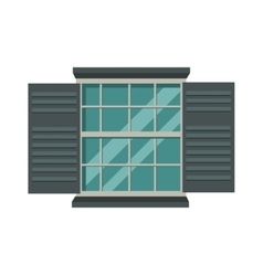 Window open interior frame glass construction vector