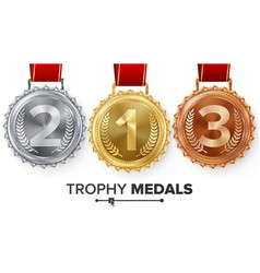 Winner gold silver bronze medals set vector