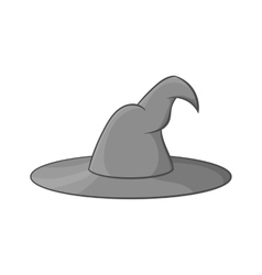 Witch hat icon black monochrome style vector image