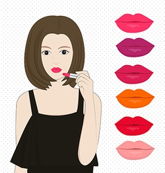 Woman applying lipstick vector