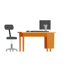 workplace of office workers furniture isolated vector image