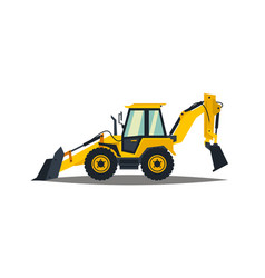 yellow backhoe loader on a white background vector image
