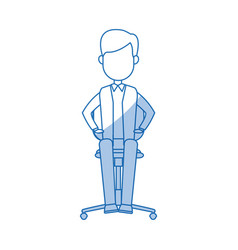 young businessman sitting calmly on a chair vector image