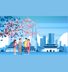 Young people group over seoul city background with vector