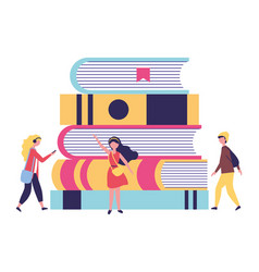 young people with stack books study vector image