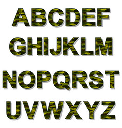 alphabet military camouflage vector image vector image