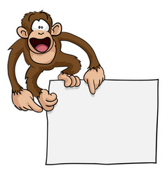 crazy cute monkey sign vector image vector image
