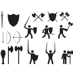 People warriors and medieval weapons vector