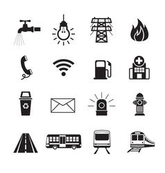 Public utility icons silhouette set vector