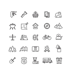 Summer camping line icon set vector image