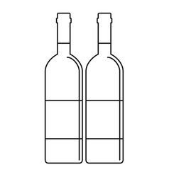 two wine bottles icon outline style vector image