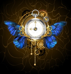 Clock with Blue Butterfly Wings vector image