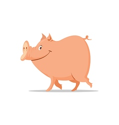 smiling pig cartoon vector image vector image