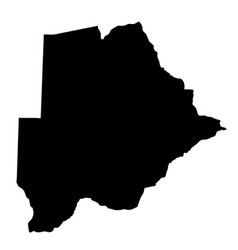 black silhouette country borders map of botswana vector image