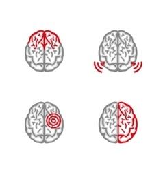 Brain pain icon vector