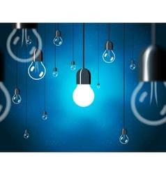 Light bulbs on blue background horizontally vector image vector image