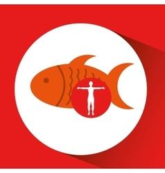 silhouette man fish food design vector image
