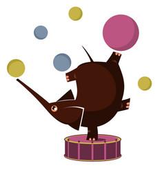 Cartoon elephant circus actor juggler acrobat vector