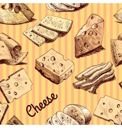 Cheese sketch seamless wallpaper vector image vector image