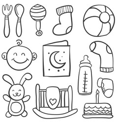 collection of baby element doodles vector image vector image