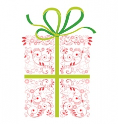 gift wrapped box vector image vector image