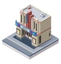 isometric cinema building vector image vector image