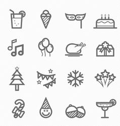 party symbol line icon set vector image vector image