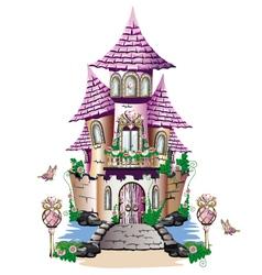 Pink fairy tale castle vector image