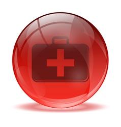 3d glass sphere medkit icon vector