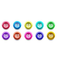3d numbers bullet point circle buttons vector image