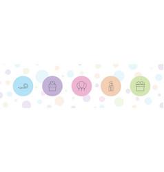 5 birthday icons vector image
