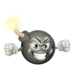angry mean bomb cartoon mascot vector image