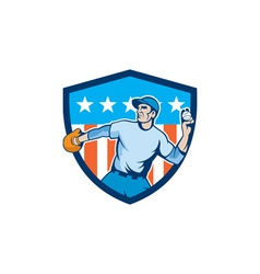 Baseball Pitcher Throwing Ball Shield Cartoon vector