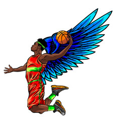 Basketball player jumping stylized vector