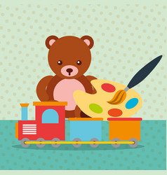 bear teddy train wagon paint brush color palette vector image