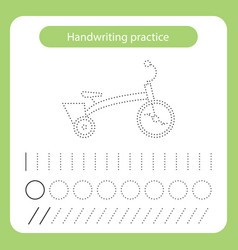 Bicycle kids toys theme handwriting practice sheet vector