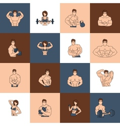 Bodybuilding fitness gym icons flat line vector