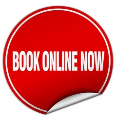 Book online now round red sticker isolated on vector